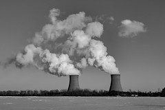 Winter in a nuclear zone. (Notkalvin) Tags: fermi nuclear coolingtowers steam bw blackandwhite notkalvin winter cold snow outdoor mikekline clearsky grey notkalvinphotography twintowers twins two energy alternativeenergy