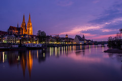 Regensburg at night (thiemo.kersting) Tags: river regensburg city night lights nightlights evening sunset clouds cathedral church boats mirror