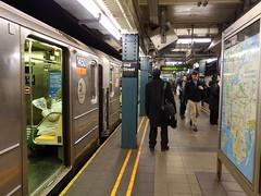 201702044 New York City subway station 'Wall Street' (taigatrommelchen) Tags: 20170207 usa ny newyork newyorkcity nyc manhattan financialdistrict icon urban railway railroad mass transit subway station tunnel train mta r142