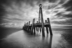 The Old Iron Pier (Mister Oy) Tags: davegreen oyphotos ©oyphotos lytham stannes pier coast sea coastal jetty old 10stop nd neutraldensity longexposure fujixpro2 fuji1024mm lancashire beach mono monochrome blackandwhite bw reflection