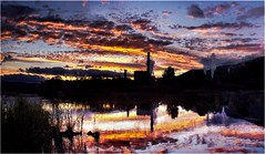 Boyer Sunset (Trains In Tasmania) Tags: australia tasmania boyer newnorfolk sorellcreek derwentvalley derwentriver river riverderwent sunset ef35350mm13556lusm canoneos550d trainsintasmania stevebromley clouds colour panorama stitch tasmaniancountryside tasmanianscenery