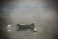 Skiff-ed in Fog (jm atkinson) Tags: purple skiff fog pemaquid harbor atlantic ocean fishing village moors maine newengland john bay texturetuesday kerstin frank nikon d7100 september 200mm