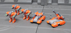 Badgers and Cougars Painted! (OrangeKNight) Tags: proxy war gaming tabletop wargaming 6mm scale micro microscale mini miniature 3d modeling printing shapeways badger light mech cougar gatling tank