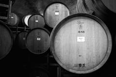 Gibbston Valley Wine Cave - EXPLORE (Miss Basil85) Tags: queenstown gibbstonvalley otago southisland newzealand nz wine winery winecave barrels blackwhite black blackandwhite monochrome grey nikon d3200