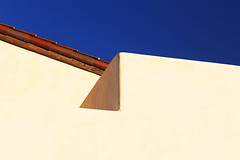 Sky Lines (studioferullo) Tags: abstract architecture art beauty bright building city colorful colors contrast dark design detail downtown edge house light minimalism outdoor outside perspective pattern pretty scene serene tranquil shadow sky study sunlight sunshine street texture tone world tucson arizona wall tile blue white brown lines adobe stucco plaster geometry wood corner angle diagonal