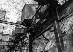 Abandoned Cotton Mill: Fans & Beams (that_damn_duck) Tags: blackandwhite monochrome abandoned cottonmill fan beams urbex urbanexplorer structure decaying industrial bw blackwhite