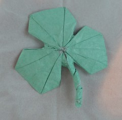 Happy Saint Patrick's Day!! (Tankoda) Tags: origami 3 leaf three leaves clover sain st patrick patricks day art tissue foil tissuefoil green white travis nolan paper no cuts or glue