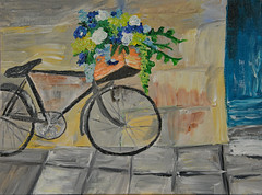Bicycle - Take 1 (BKHagar *Kim*) Tags: bkhagar art artwork painting paint acrylic bicycle bike flowers wall basket box spokes wheels impressionist