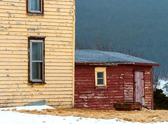 Old Houses (Karen_Chappell) Tags: house architecture nfld newfoundland outercove yellow red old weathered rural canada avalonpeninsula atlanticcanada windows wood wooden paint painted clapboard snow