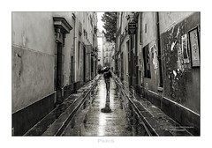 Paris n°152 - Small Alley (Nico Geerlings) Tags: ngimages nicogeerlings nicogeerlingsphotography rain rainy raining streetphotography ruevisconti paris parijs france saintgermain wetstreets reflection reflections blackandwhite leicammonochrom 50mm summilux