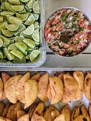 Empanadas with Lime & Salsa (sstrieu) Tags: empanadas empanada colombian food
