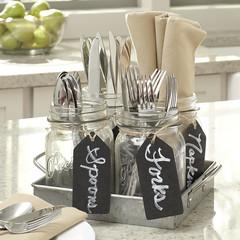Utensil Tray (Heath & the B.L.T. boys) Tags: galvanized metal jars label chalkboard organize storage tray fork spoon knife napkin utensils