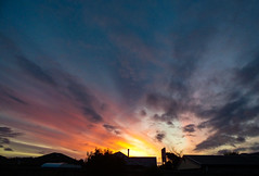 Bright Before Night (Steve Taylor (Photography)) Tags: building house garage black blue orange yellow newzealand nz southisland canterbury christchurch northnewbrighton silhouette sunset sundown cloud sky sun