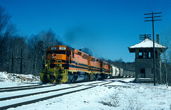 Flares, Snow, and a Tower (jwjordak) Tags: 456 bprr manifest snow linepole sd45r trainbub tower train dubois pennsylvania unitedstates us buffalopittsburgh
