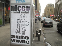 Niceo Wayne Auto Graffiti Art Calvin and Hobbs Comic Strip 4482 (Brechtbug) Tags: niceo wayne auto graffiti calvin hobbs newspaper comic strip characters art posters sidewalk phone booth 7th avenue near 34th street midtown nyc 2017 04172017 new york city profile design films movie funnies sunday papers bill watterson cartoonist tigre kid stuffed tiger st ave streets niceos criminal minded you been blinded guerilla ads cover manhattan culture jamming bombing since 1977 mass appeal reports same funny cartoon news paper cm