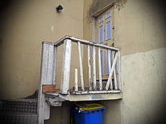 yellow and blue in ramsgate (maximorgana) Tags: dumpster yellow blue yb staircase ramsgate trashbit door cctv security camera