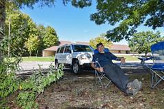 Test of new camping chairs (MarkusR.) Tags: mrieder markusrieder nikon d7200 nikond7200 vacation urlaub fotoreise phototrip usa 2016 usa2016 tennessee norrisdamstatepark publicpool schwimmbad parkplatz parkingarea rest break pause campingstuhl campingchair selfportrait people menschen