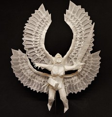 Origami Valkyrie (Bart Davids) Tags: origami valkyrie wings feather complex crease pattern angel