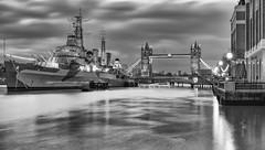 HMS Belfast (Aleem Yousaf) Tags: hms belfast morning overcast london river thames tower bridge long exposure lamposts reflections ship battle royal navy clouds monochrome blackandwhite