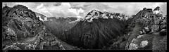 Machu Picchu (meggiecaminos) Tags: perú peru machupicchu cusco cuzco landscape landscapephotography paisaje fotografíadepaisaje paesaggio panorámica panorama panoramicview montañas mountains montagne andes ruinas ruins rovine gente people unesco worldheritage patrimoniodelahumanidad vistapanorámica bw bn bianco blanco black negro nero white nubes clouds nuvole niebla fog nebbia