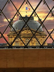 The Louvre  Paris France  ~   I.M. Pei's glass pyramid in 1989 (Onasill ~ Bill Badzo) Tags: the louvre museum historic monument building architecture pyramid glass triangle chinese american i m pei architect courtyard clouds sky city paris france landmark history largest onasill seine river mustsee travel tourist french central