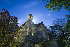20170412_F0001: Moonrise behind church bell tower (wfxue) Tags: night light sky stars star moon moonlight shadow house building church bell tower garden windows clouds meteor flare digital camera dslr tripod exposure photography longexposure trees bleanchurch