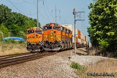 BNSF 5008 | GE C44-9W | BNSF Birmingham Subdivision (M.J. Scanlon) Tags: bnsf bnsfrailway bnsfbirminghamsub burlingtonnorthernsantafe burlingtonnorthernsantaferailway bnsf5008 ge c449w bnsf5954 es44ac intermodal olivebranch mississippi beard orange signal memphis tennessee digital freight transportation merchandise commerce business wow haul outdoor outdoors move mover moving southern scanlon canon eos unit engine locomotive rail railroad railway train track horsepower logistics