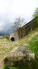Old parapet stone by trackbed  (Huddersfield   Newtown - Mirfield  old railway) (dave_attrill) Tags: huddersfield newtown hillhouse mirfield lmsr london midland scottish railway disused line goods only branch trackbed west yorkshire riding cycle path foothpath ncn connection sheffieldtobradford parapet stone seat dalton bank rd bridge underpass road april 2017