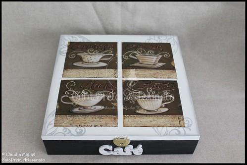 """Caixa para cápsulas de café Delta Q e caixa de açúcar """"Black CoffeII"""""""