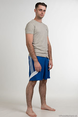 Casey (PhotoMechanic.uk) Tags: male man guy dude youth model pose photoshoot studio blue adidas shorts fashion trendy casual stand standing