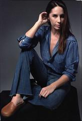 Tiffani Blue 9 (neohypofilms) Tags: portrait series blue bleu denim style fashion retro vintage jeans hair long shoes clogs mules slippers 70s 60s hippie color colour 35mm film slr nikon f studio model classic pinup