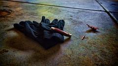 End of the game (LeftCoastKenny) Tags: shadowip pocketknife gloves noir leaves vignette reflections