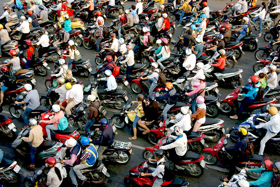 Typical morning traffic in Vietnam's bigger cities