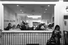 Dim Sum (Number Johnny 5) Tags: dimsum tamron d750 nikon window street people holiday dim candid 2017 restaurant monochrome white black woman chinatown sum opium bw 2470mm london april