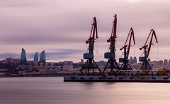Baku (emilqazi) Tags: baku azerbaijan port cranes flame tower sea seafront seaside seascape water waterfront travel city cityscape capital long exposure caspian