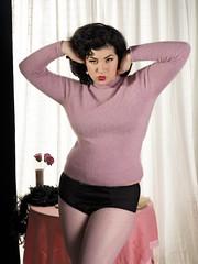 Holly x Gigi #10 (Bruce M Walker) Tags: sweater sweatergirl pinup glamour vintage vintagelingerie vintagepinup angora leggings hose lipstick