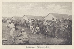 1917 Folder - Baseball Game on Recreation Field next to the Horse Stables at Camp Petawawa, Ontario (photo #5 from folder #1) (Baseball Autographs Football Coins) Tags: petawawawarcamp postcard folder camppetawawa petawawacamp wwi worldwar1 petawawa ontario canada thecollegebookstore 16photographicviews sportsfield baseballgame baseball horsestables military