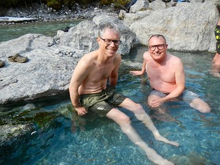 Larry and Ben enjoying the hot pool at the Lussier River Hot Springs