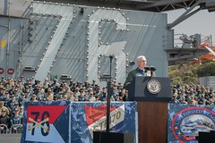 Vice President addresses service members on the flight deck of USS Ronald Reagan. (Official U.S. Navy Imagery) Tags: yokosuka japan