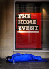 Home Truths (Dave_Davies) Tags: bath england street sleeping bag homeless home event shop advertisement