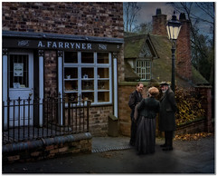 After hours (Hugh Stanton) Tags: bakers shop victorian lamp post meeting appicoftheweek