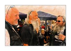 The Jolly Hairy Bikers (paulinecurrey) Tags: smileonsaturday hair men bikers beards moustache longhair happy smiles smile textures texture colourful guitars tents art creative canon depthoffield closeup portrait mirror motorbikehandle