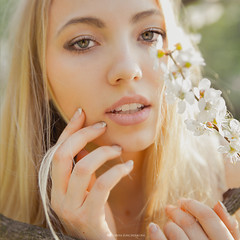 in sakura (viktoriyalunchenkova) Tags: morning sun girl beautiful sunshine russia moscow sakura freshness