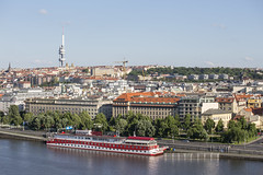 Zizkov (zbdh12) Tags: travel sky tower canon river boat europe czech prague sunny czechrepublic fullframe bohemia vltava tvtower 6d letna zizkov
