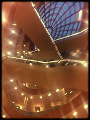 ~ Looking up at #The #Liverpool Library opening night (jenwren777) Tags: architecture liverpool library the uploaded:by=flickrmobile flickriosapp:filter=salamander salamanderfilter