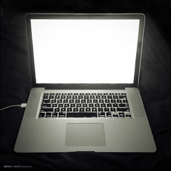 laptop [1622] (brianjmatis) Tags: blackandwhite apple computer square laptop photoaday iphone project365 macbook macbookpro cameranoir