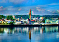 Photo of Scotland Greenock the town hall spire reflected in the river Clyde 17 June 2013 3D by Anne MacKay