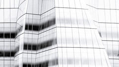 Uneven (ep_jhu) Tags: nyc bw newyork abstract building lines canon unitedstates geometry manhattan gehry repetition 7d abstracto frankgehry iac