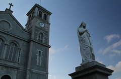 The Basilica (Tracy Christina) Tags: blue summer sky canada tower clock church statue clouds newfoundland evening cathedral basilica july stjohns