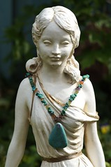 Sally-Jane's Secret Garden (Clever Poet) Tags: statue yard garden necklace turquoise secret sally serene lovely neighbor inviting janes